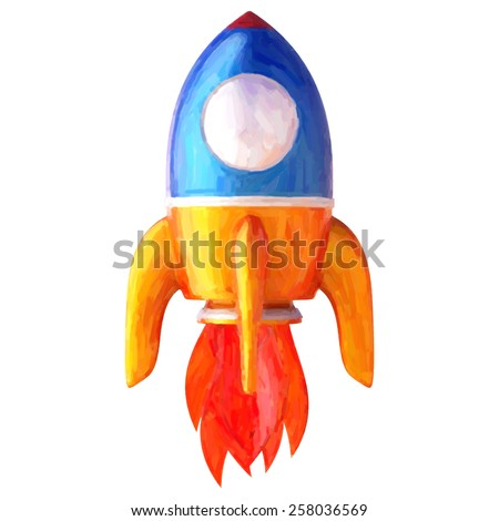 Abstract rocket isolated on white background. Trace 3d render with oil painted effect.