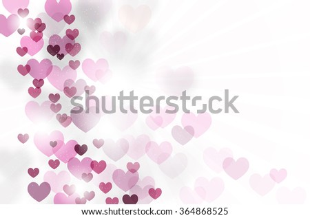 Abstract romantic background with flying hearts, rays and place for your text - vector illustration - stock vector