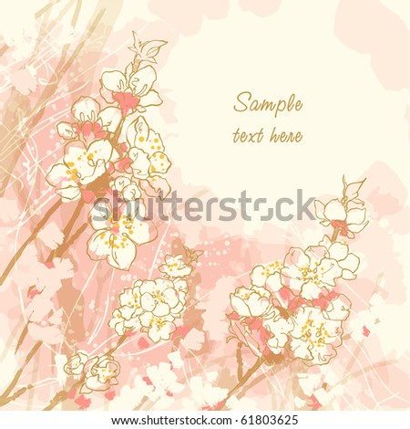 Abstract romantic vector background with cherry blossom - stock vector