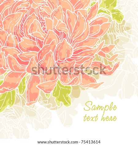 Abstract romantic vector background with chrysanthemum - stock vector
