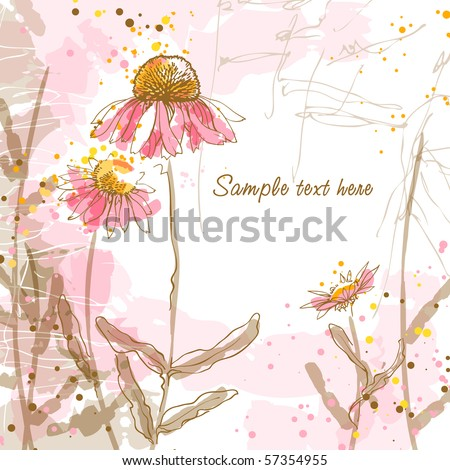 Abstract romantic vector background with three echinaceas. - stock vector