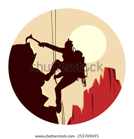 Abstract round logo of alpinists (climbers) with ice ax. - stock vector