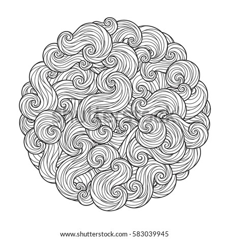 Abstract Round Sea Wave Mandala with curls, swirls, hairs isolated on white background. Coloring book for adult and older children. Editable vector illustration.