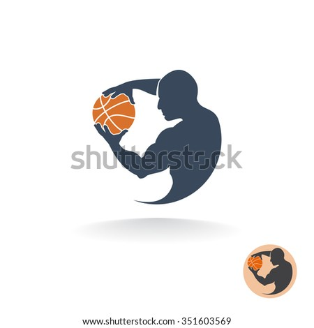 Abstract round vector logo of the basketball player with a ball. - stock vector