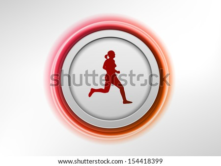 abstract round with silhouette of running girl - stock vector