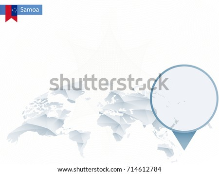 Abstract Rounded World Map Pinned Detailed Stock Vector - Samoa map vector