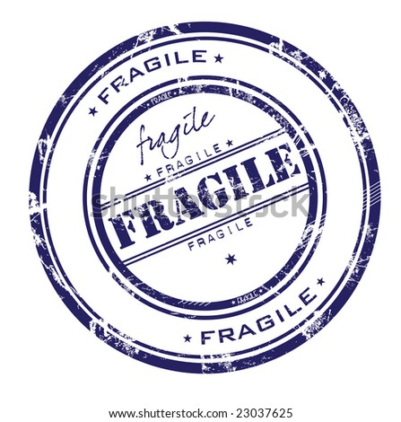 Abstract rubber grunge office stamp with the word fragile - stock vector