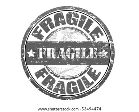Abstract rubber grunge office stamp with the word fragile - more available