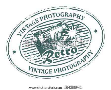 Abstract rubber grunge stamp with old film camera and the word Vintage Photography, vector illustration