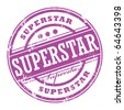 Abstract rubber grunge stamp with the word Superstar, vector illustration - stock vector
