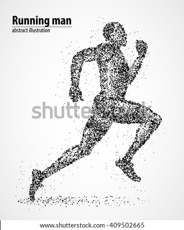 Abstract runner of black circles. Vector illustration. - stock vector