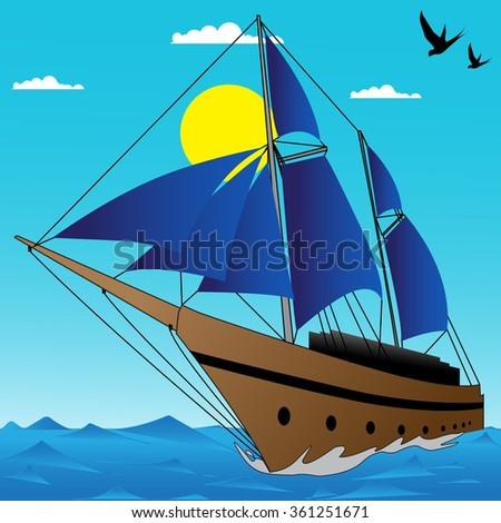 Abstract sail boat scene illustration