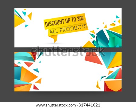Abstract Sale website header or banner set with 30% discount offer on all products. - stock vector