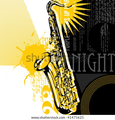 Abstract saxophone background. Vector illustration. - stock vector