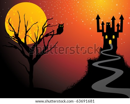 abstract scary halloween background, illustration - stock vector