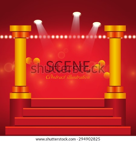 Abstract scene with columns and stairs illuminated spotlights.Glowing effect for people or product advertising - stock vector