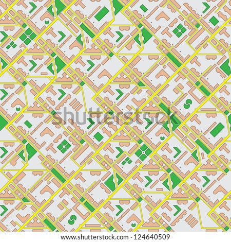 Abstract schematic map of the city - seamless vector background - stock vector