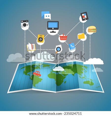 Abstract scheme of modern computer network - stock vector