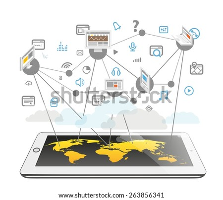 Abstract scheme of modern computer network. Design elements - stock vector