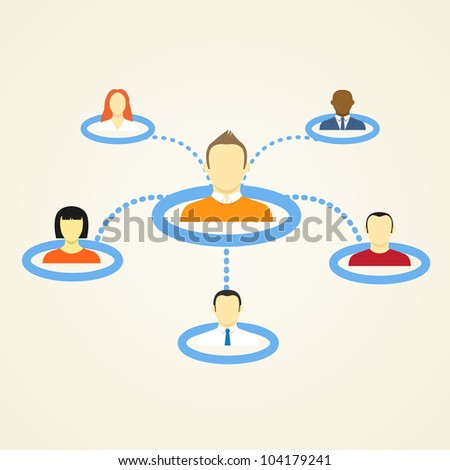 Abstract Scheme of social network - stock vector