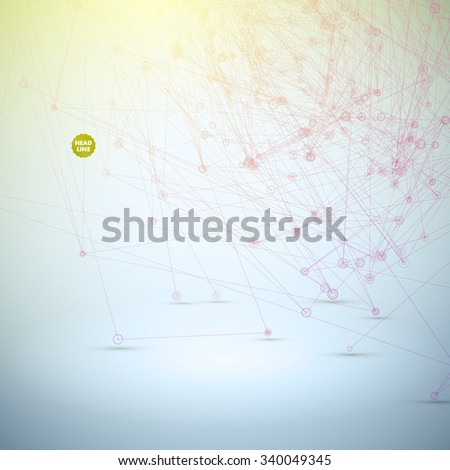 Abstract Science Vector Background. Geometric Polygonal Shape. Connecting Dots and Lines Structure