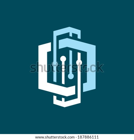 Abstract scientific research sign Branding Identity Corporate vector logo design template Isolated on a dark background - stock vector