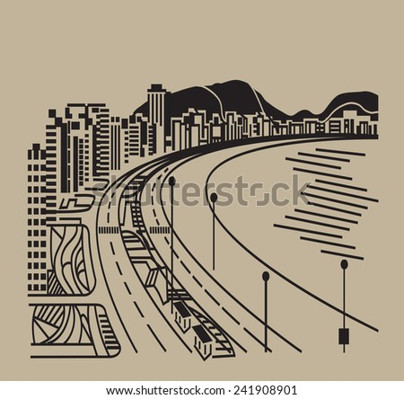 Abstract sea and city landscape Vector illustration. - stock vector