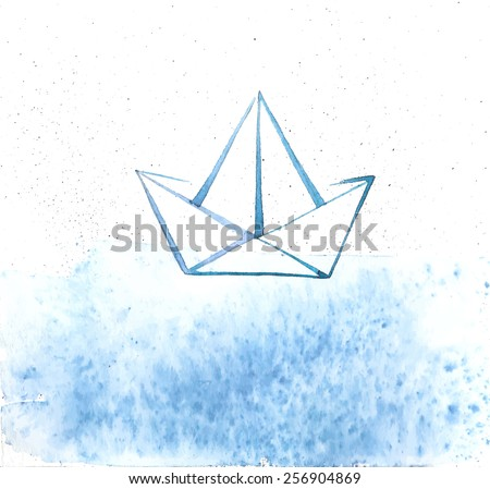 Abstract Sea And Ship Vector Background. Pictured Paper Boat Swings On The Watercolor Ocean. EPS 10 Image - stock vector