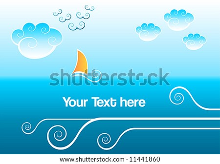 Abstract sea background with clouds, waves and sailing boat - stock vector