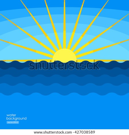Abstract sea illustration, ocean waves and sunlight