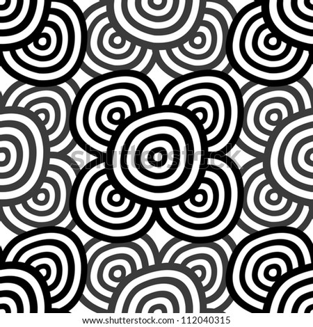 Abstract seamless background - monochrome rings. EPS10 vector. - stock vector