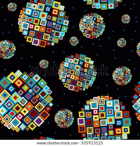 abstract seamless background - vector illustration. Starry sky with abstract shapes bright