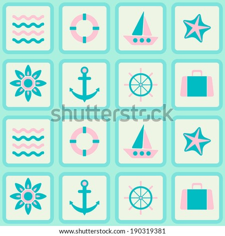 abstract seamless background with marine theme