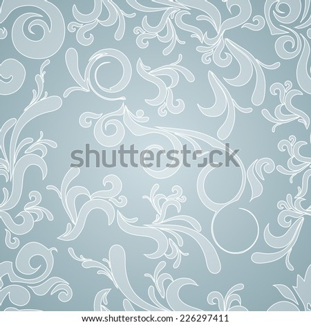 Abstract seamless background with white curls