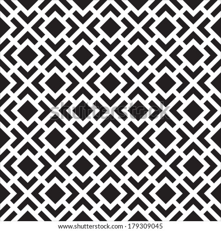 Abstract Seamless Black and White Art Deco Lattice Vector Pattern - stock vector