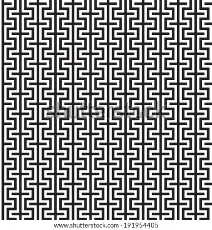 Abstract Seamless Black and White Art Deco Vector Texture Pattern - stock vector