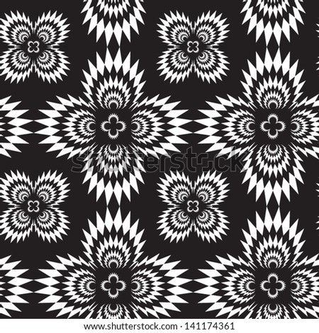 Abstract seamless black and white inverted vector pattern with cross explosions. Easy to change the colors. - stock vector
