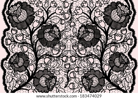 Abstract seamless black lace ribbon with feminine floral pattern. Vector illustration.