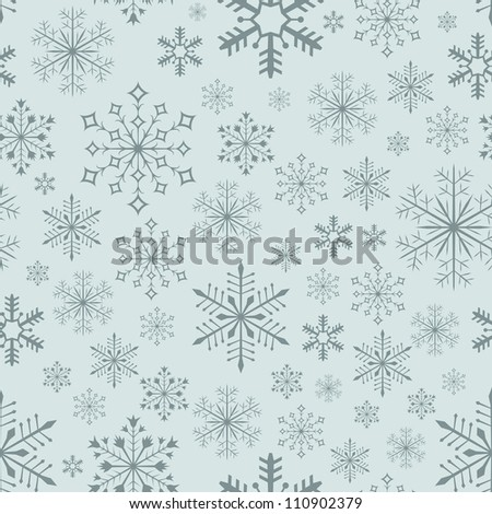 Abstract seamless bluish snowflake vector background. - stock vector