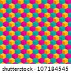 Abstract seamless bright stylized geometric cube pattern - stock vector