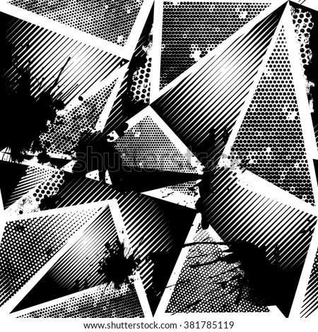 Abstract seamless chaotic pattern with geometric elements, scuffed, drops, sprays, triangle. Grunge texture background.  Black and white wallpaper - stock vector