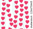 Abstract seamless colorful red hearts pattern, Valentine�s day concept, vector illustration. - stock vector