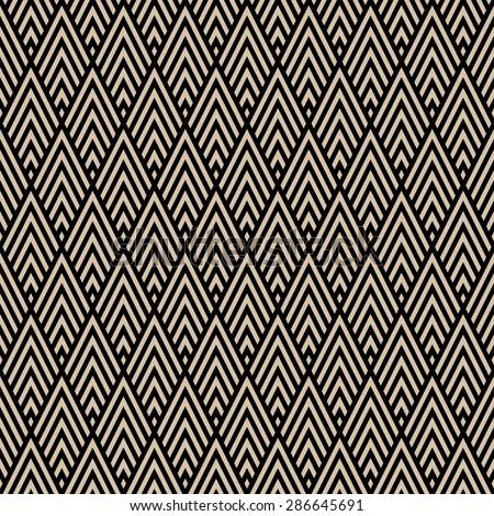 Abstract Seamless Decorative Geometric Chevron Gold & Black Pattern - stock vector