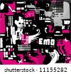 Abstract seamless emo background. To see similar, please visit my gallery - stock vector