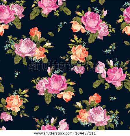 Abstract seamless floral pattern with of pink and orange roses on black background. Vector illustration. - stock vector