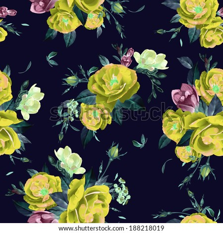 Abstract seamless floral pattern with of  roses and freesia. Vector background. - stock vector