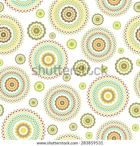 Abstract Seamless geometric floral pattern of dots on a white background. Vector - stock vector