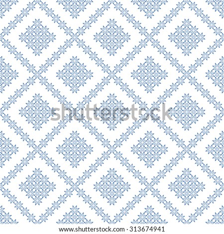 Abstract Seamless geometric floral pattern. Symmetrically repeating pattern. Vector  illustration - stock vector