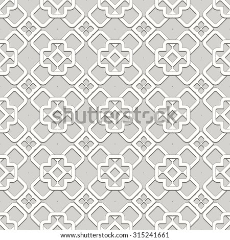 Abstract Seamless Geometric Islamic Wallpaper. Vector Arabic Monochrome Pattern. Lace Texture - stock vector