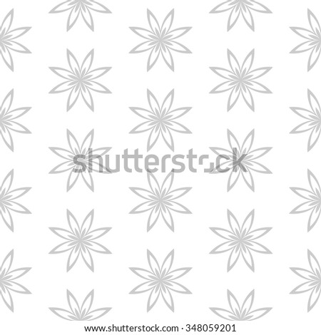 Abstract Seamless geometric monochrome floral pattern. Symmetrically repeating pattern. Vector illustration - stock vector